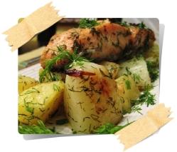 Семга запеченая с картофелем